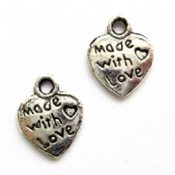 20 Tibetan Silver 10mm Made With love Charms